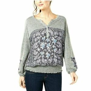 Style & Co S Graphic Long Sleeves Gray Top 4AB67